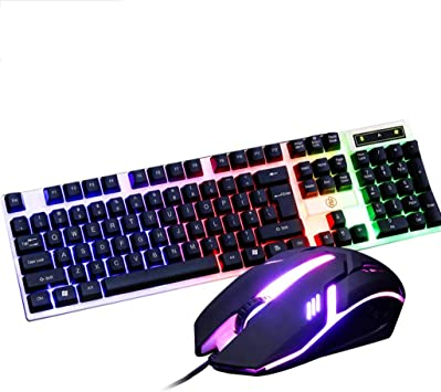 Wired USB Blue Backlit Metal Ergonomic Keyboard+3200DPI Breathing Backlit Mouse Guanwen Gaming Mechanical Feel Keyboard and Mouse Set