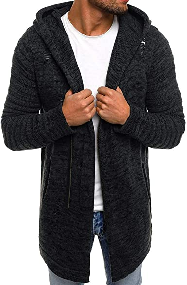 Homme Chaud Tricot à Capuche Manteau Pull à Manches Longues Pull-over Hiver Casual Sweater