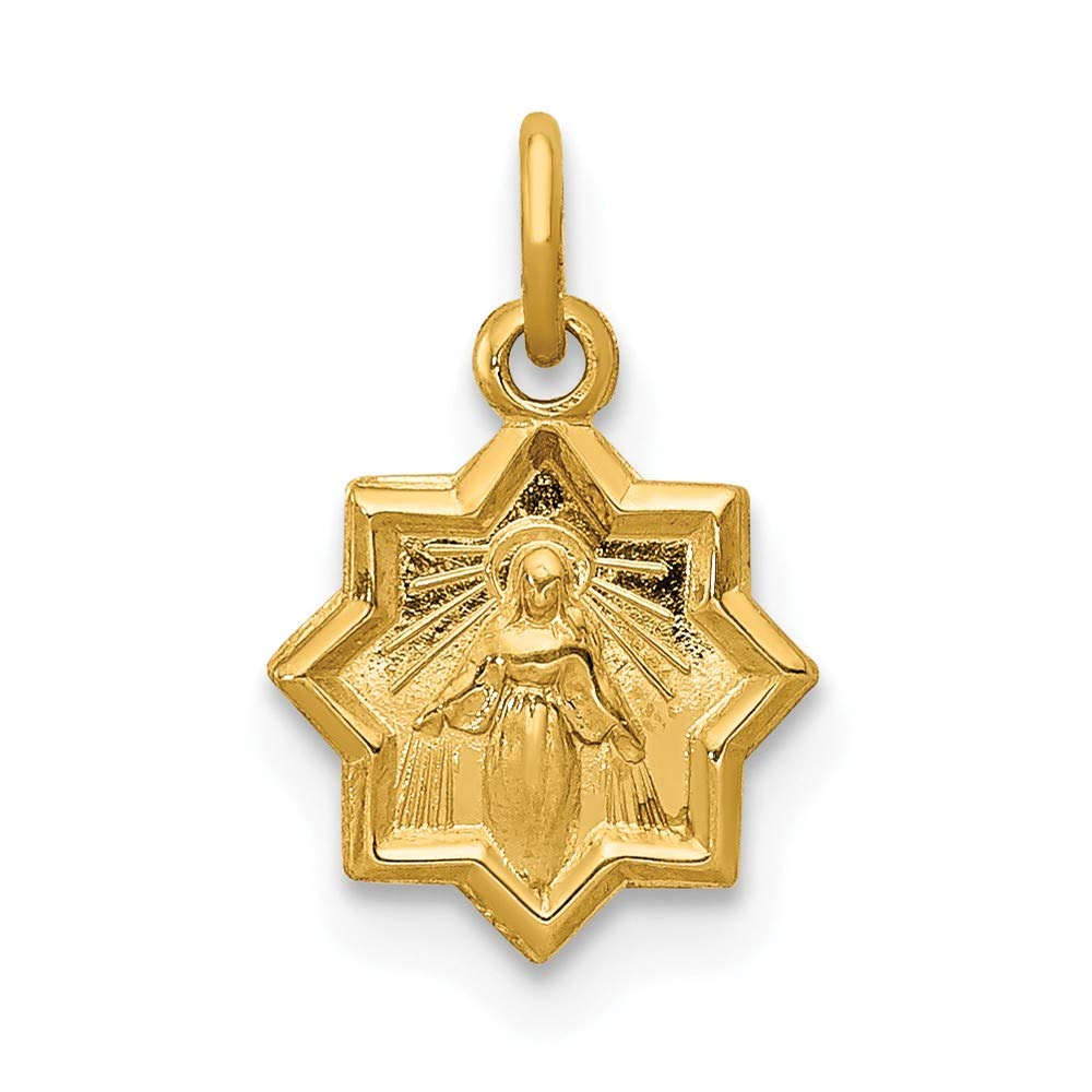 FB Jewels Solid 14K Yellow Gold Blessed Mary Charm