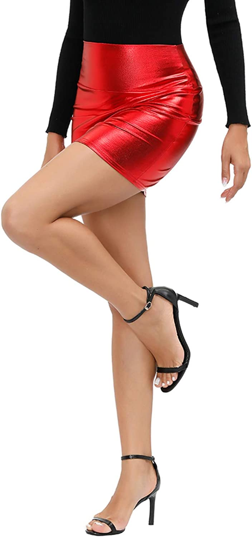 Yidarton Womens Stretchy Metallic Mini Skirt Shiny Bodycon Skirt