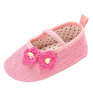 87392c9879ca7 Amazon.com : for 0-18 Months Baby, Crochet Baby Girls Shoes Cotton Toddler Infant  Newborn Baby Shoes Princess Shoes (0-6 months, Pink) : Baby
