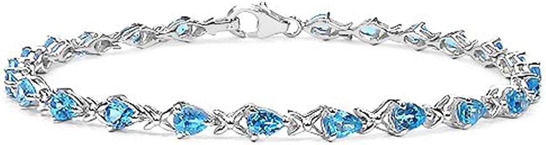 La Colección de Topacio Azul: Pulsera Plata de damas 24 piedras en forma de Pera Topacio Azul y Pulsera de Beso con 3.36 quilates de Topacio Geniune suizo Azul.