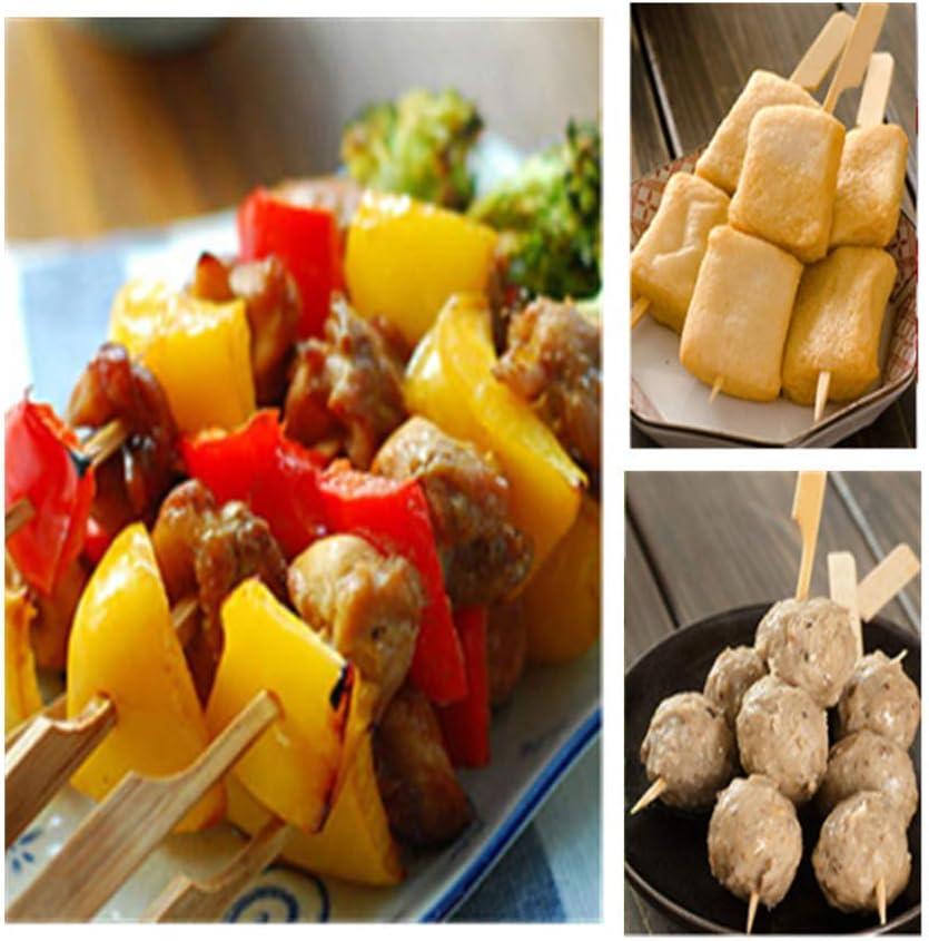 Frutas VABNEER 200 Piezas Brochetas de Bamb/ú para Barbacoa Palo Brocheta Madera Palo Pincho para Barbacoas Verduras 18cm Fiestas Familiares