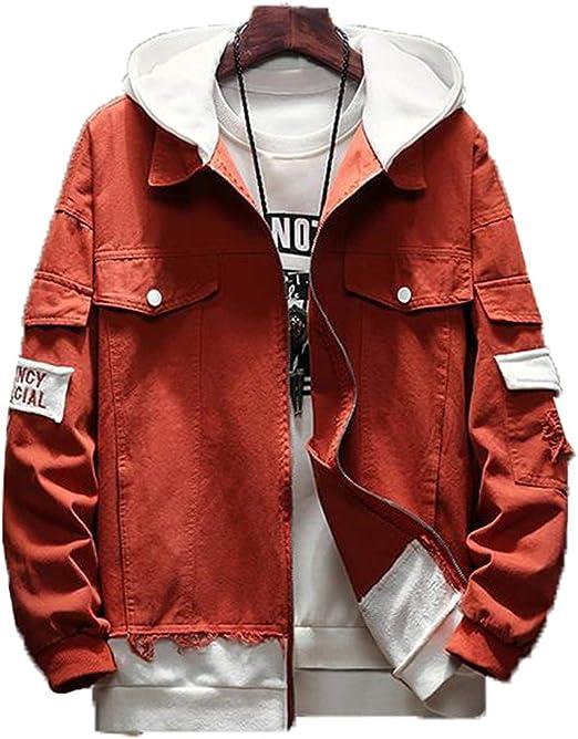 [ベィジャン] メンズ ジャケット パーカー レイヤード フェイク 長袖 フード付き おしゃれ ヴィンテージ ストリート アウター ブルゾン ジャンパー ファッション カジュアル スタイリッシュ かっこいい 春秋