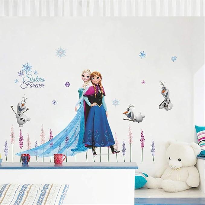 Elsa Queen Anna Princess Anime Pegatinas De Pared Habitación Para Niños Zócalo Decoración Del Hogar Mural De Dibujos Animados Arte Frozen Movie Poster: Amazon.es: Bricolaje y herramientas