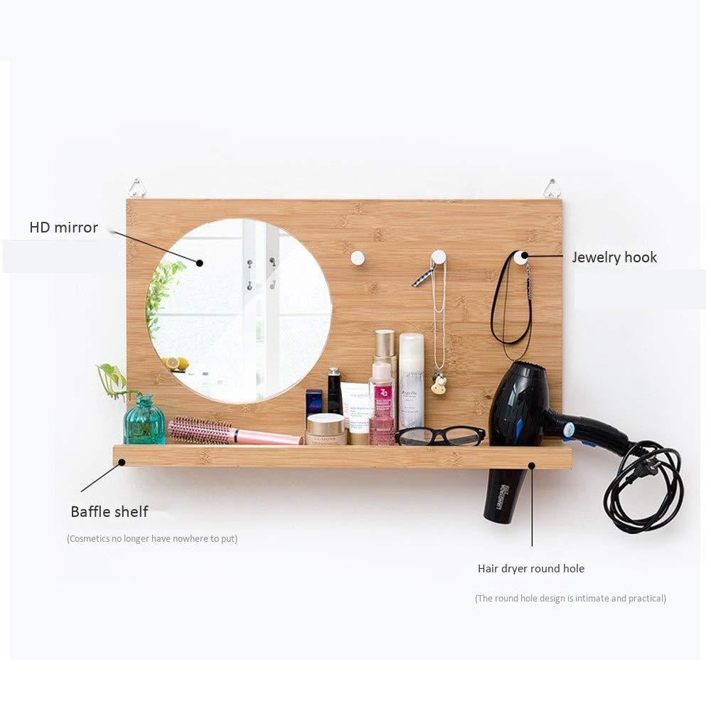 Yimaojia Luxury Bathroom Mirror with Shelf Vanity Mirror Wall Hanging Coat Rack with Hair Dryer Rack for Men and Women Shelf (Size : Female)