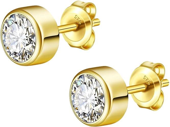 925 Sterlingsilber Ohrringe Damen Ohrstecker Creole Rund Sterne Silber Gold NEU