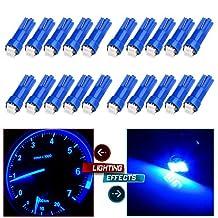 CCIYU 20x T5 Ultra Blue 58 70 73 74 Dashboard Gauge 2SMD LED Wedge Lamp Bulb Light