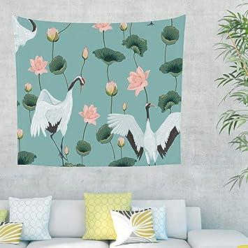 Kranich - Tapiz de pared con diseño de flor de loto, para dormitorio, playa 230x150cm azul: Amazon.es: Hogar