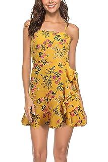 004c077141 Womens Casual Floral Boho Beach Petite Mini Dress Adjustable Spaghetti  Straps Ruffle Hem Short Mini Dress