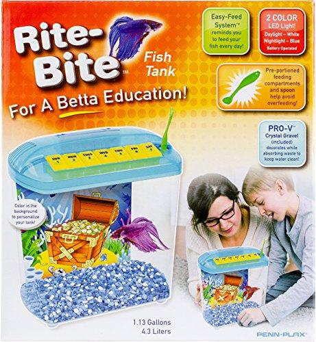 Penn Plax Rite Bite Educational Tank - For a Betta Education - A Perfect 1st Fish (Bite Tank)