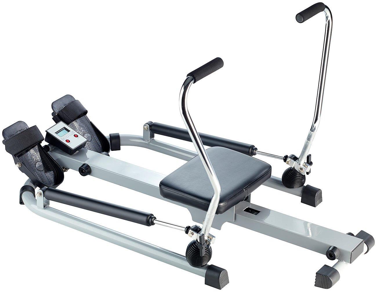 PEARL sports Ruderergometer  Rudergerät mit Trainingscomputer, Schlagzähler, Hydraulik-Zylinder (Rudertrainer)