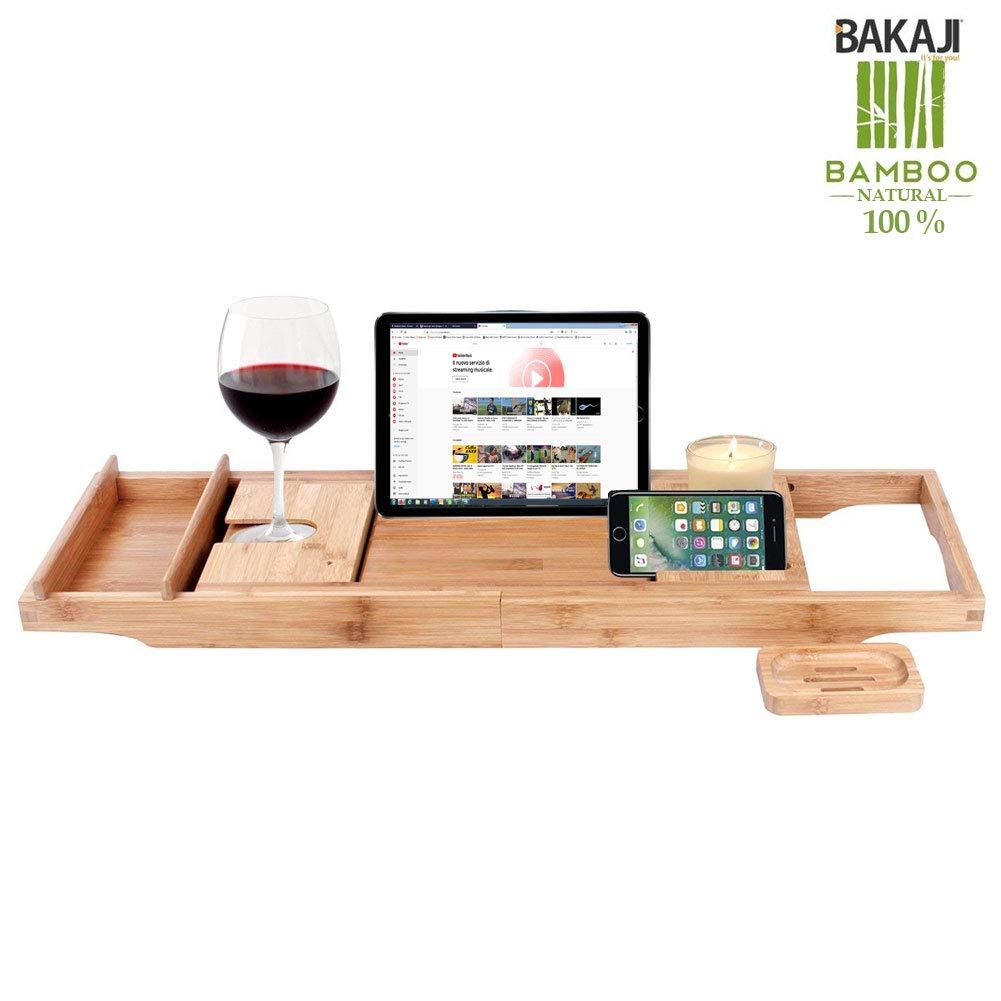 Bakaji Beistelltisch Tablett für Schale Bad Ausziehbar mit verstellbarer Seifenschale aus Holz Bambus Ständer für Tablet Bamboo Fächer Organizer für das Badezimmer aus Bambus, Spa Relax Regal Brücke für Schale Lesen Bücher