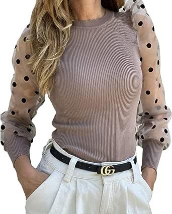 Camiseta Manga Larga para Mujer Blusa Crop Tops con Manga Transparente de Lunares y Cuello Alto Mujer Bodysuit Clubwear Ropa Invierno Primavera