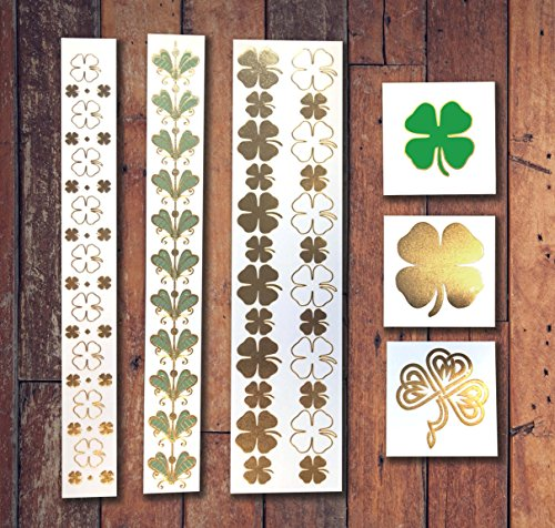 St. Patrick's Day Metallic Jewelry Temporary Tattoo (St Patricks Day Makeup)