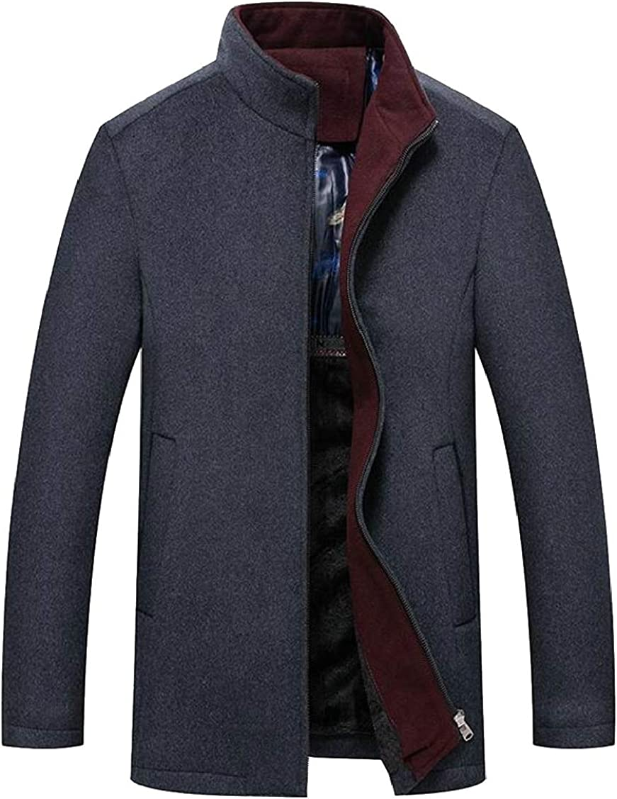 XQS Mens Slim Overcoat Single Breasted Wool Blend Trench Jacket Outerwear