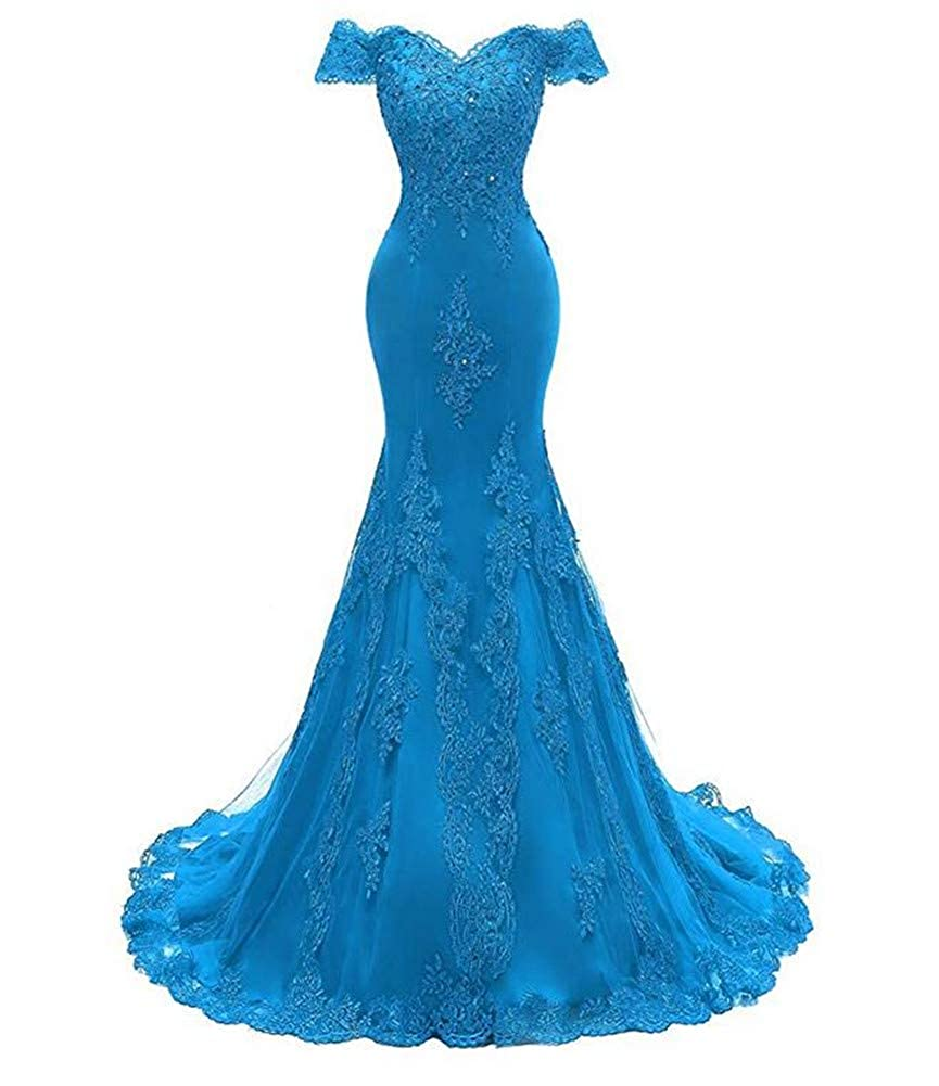 bluee Emmani Women's V Neckline Lace Appliques Beaded Prom Gown Formal Mermaid Long Evening Wedding Dresses