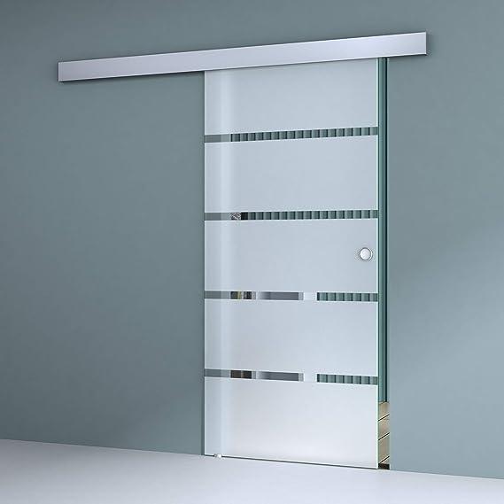 Sogood porte coulissante int/érieure en verre 77,5cm x 205cm porte glissante pour chambre cuisine buro poign/ée de porte forme barre Amalfi TS13-775SC