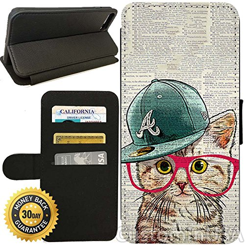 Adjustable Hipster (Flip Wallet Case for iPhone 7 (Cute Hipster Cat) with Adjustable Stand and 3 Card Holders | Shock Protection | Lightweight | by Innosub)