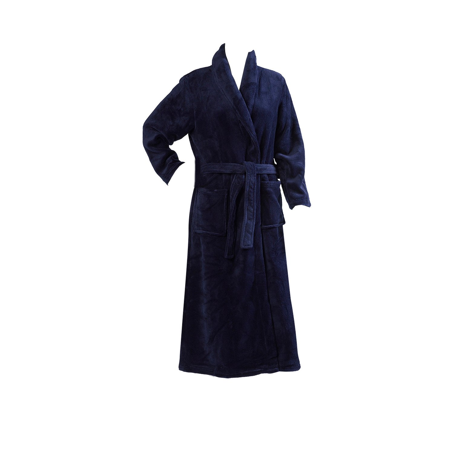 39796f7cd529f Slenderella Ladies Luxurious Soft Fleece Long Dressing Gown Wrap Around  with Pockets XL (Navy Blue): Amazon.co.uk: Clothing