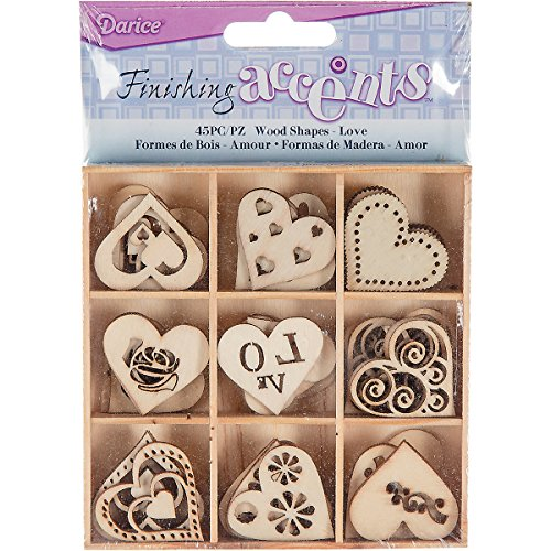 Finishing Accents 23462 45 Piece Mini Laser Cuts Wood Shapes, Hearts Theme, Multicolor