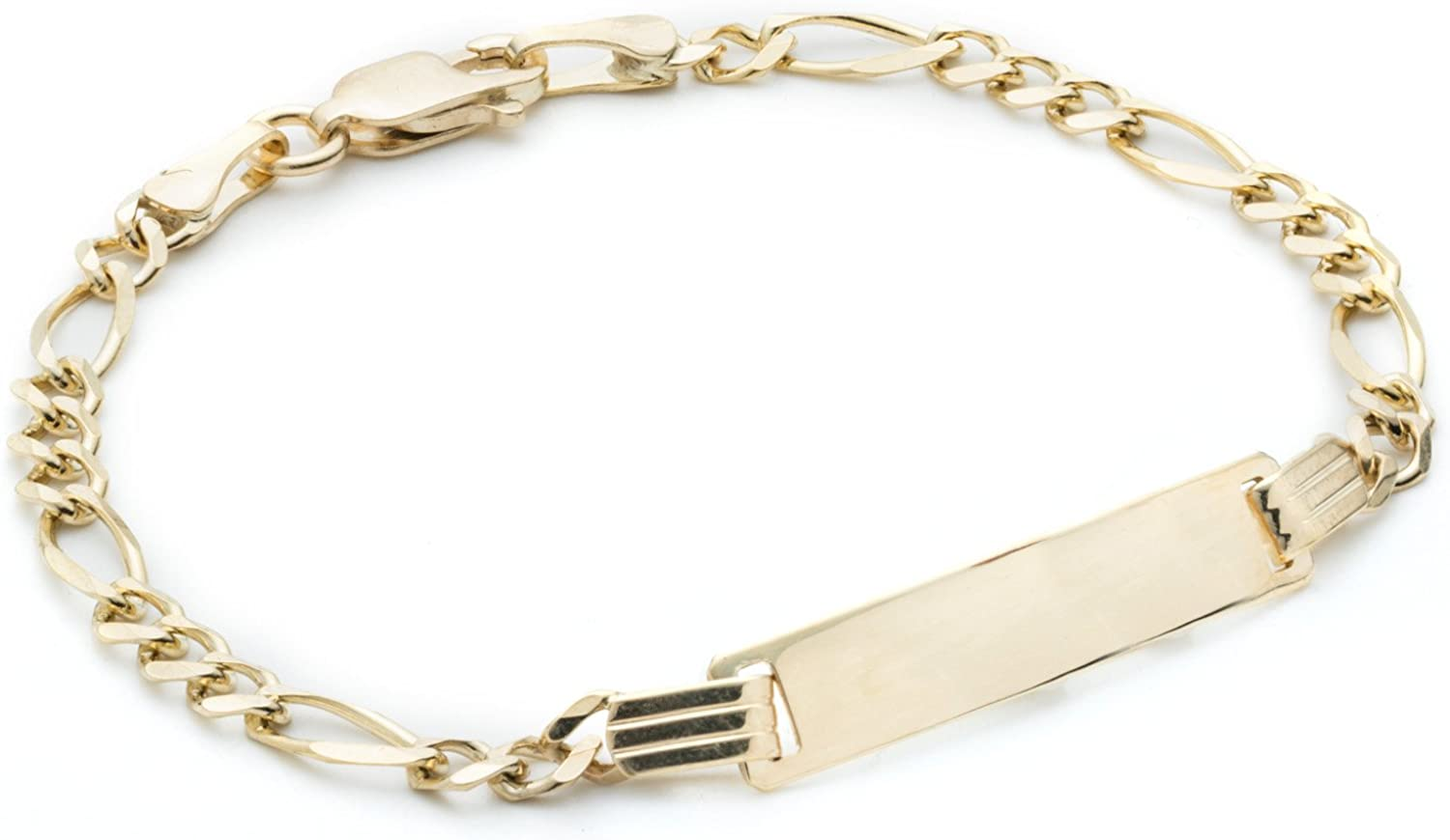 14K Yellow Gold Baby Children/'s Engravable ID Curb Link Bracelet 6 inches Engraved Personalized Names Initials