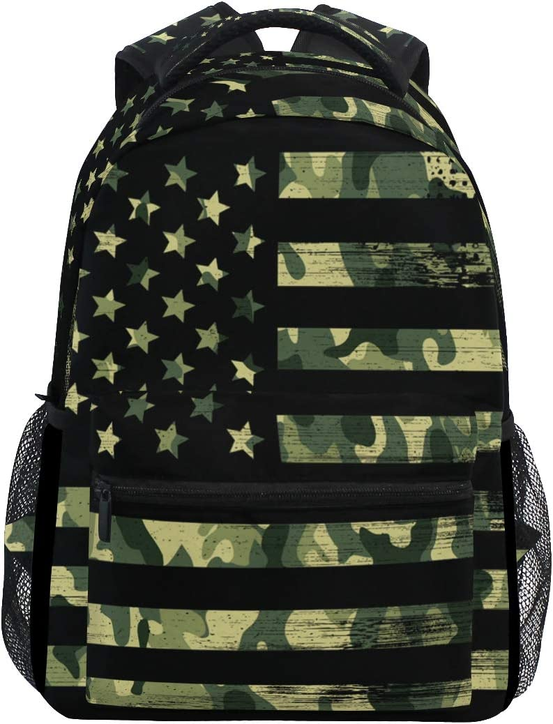 American Flag Camouflage Grunge Backpacks Travel Laptop Daypack School Bags for Teens Men Women