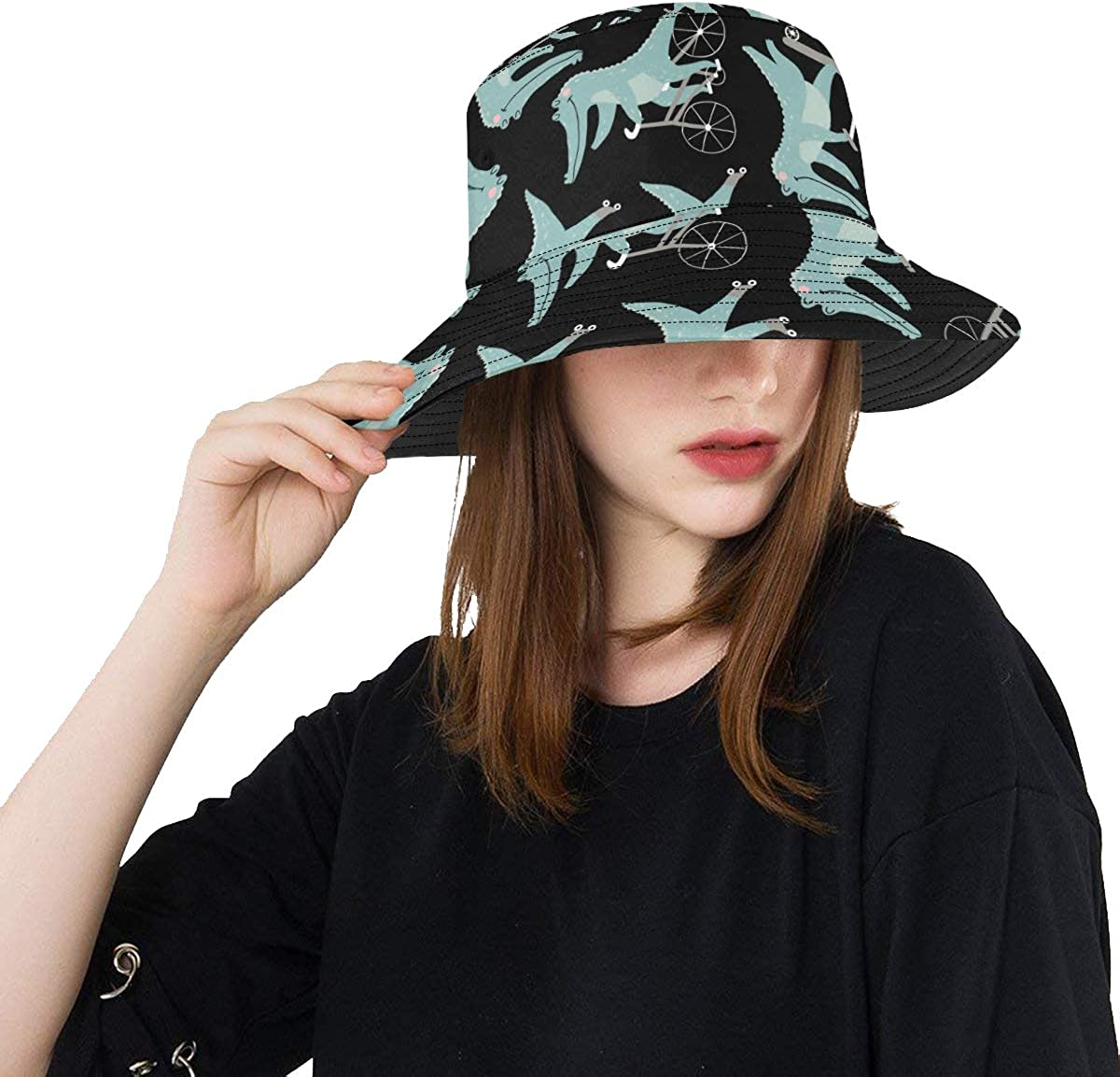 Crocodile Fiercely Funny Crawl Summer Unisex Fishing Sun Top Bucket Hats for Kid Teens Women and Men with Packable Fisherman Cap for Outdoor Baseball Sport Picnic