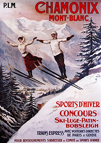 Chamonix Mont-Blanc, France - Couple Skiing - Vintage Travel Advertisement (9x12 Art Print, Wall Decor Travel Poster)