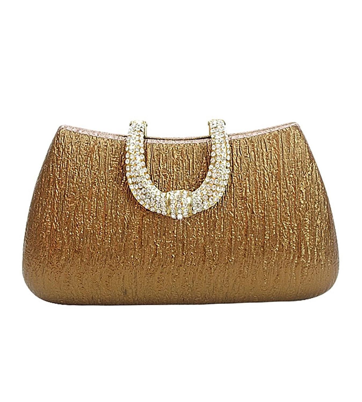 MissFox Women's Man Made Diamond Design Handbag Detachable Chain Clutch Evening Bag