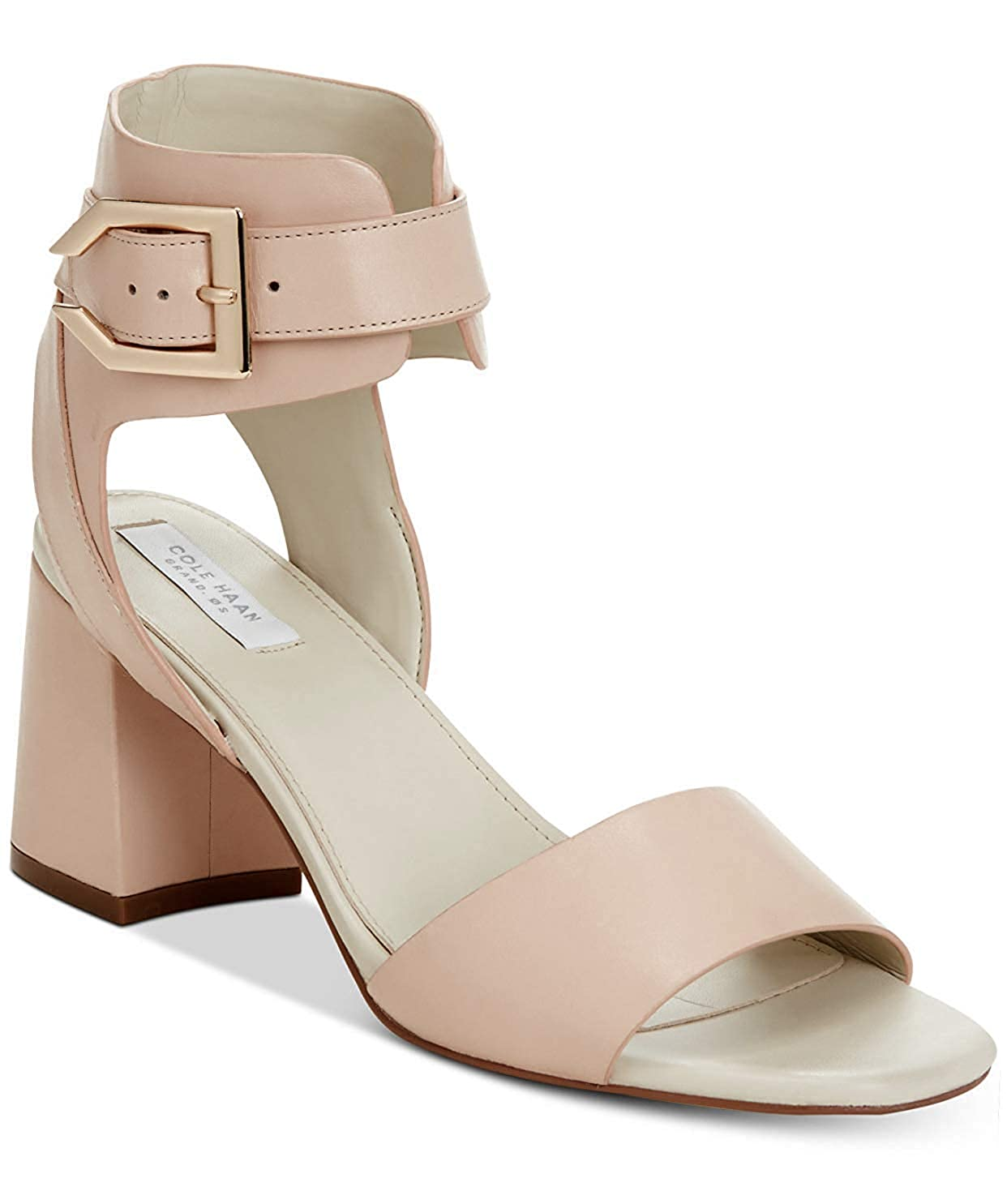 Nude Leather Cole Haan Women's Avani Block-Heel Sandals Nude