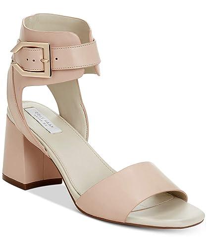4378d672809 Cole Haan Womens Avani Leather Block Heel Dress Sandals Beige 6 Medium (B