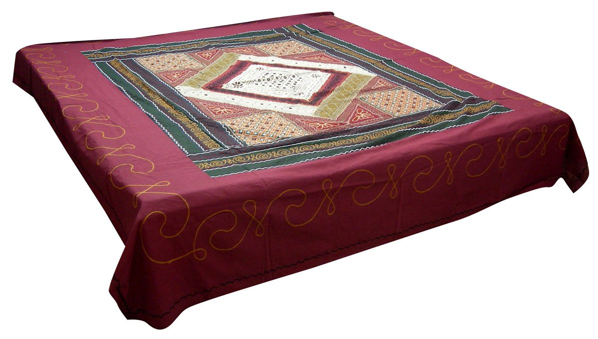 Traditional Indian Embroidered Bed Cover Cotton Fashion India Decor 88 x 100 inches