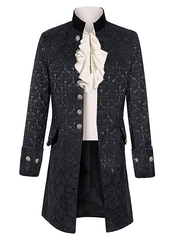 1fb6defd90b1 ❤Coat: Single breasted, Seven buttons decorations, Mens black cotton  tailcoat style jacket, Side vent, two pockets with one button, four sleeve  buttons, ...