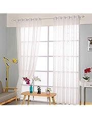 Immoch 2 pcs Cortinas Translúcidas Cortinas Visillos con 8 Ojales para Habitaciones Dormitorios Salones Estampado de Estrellas Altura de 150cm (Estrellas, 150 x 250cm)