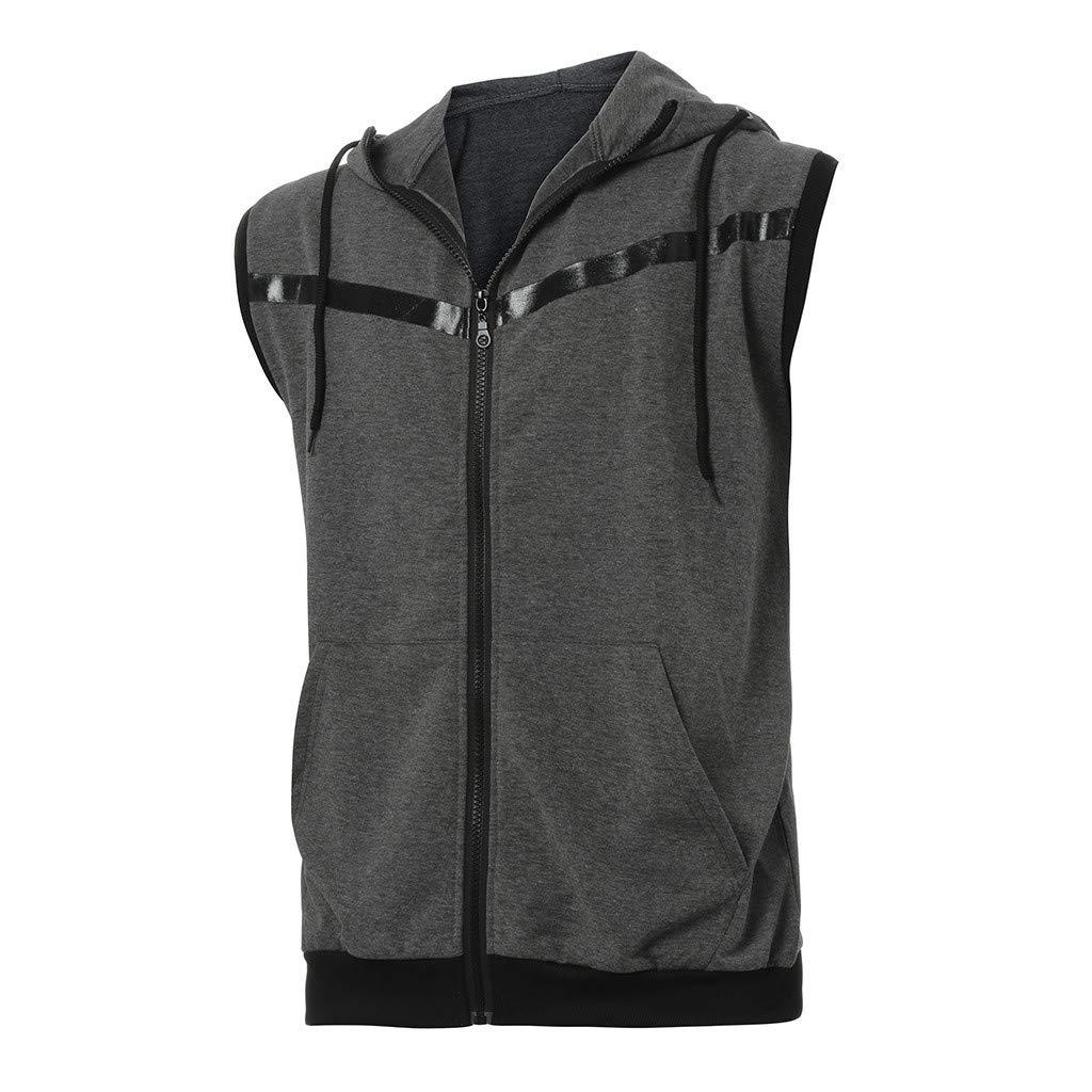 POQOQ Vest Jacket Lightweight Patchwork Sleeveless Contrast Hoodie Men