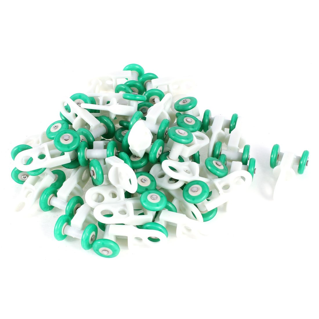 uxcell® Plastic Wheels Curtain Track Rollers 0.5 Inch Dia 40 Pcs Green White SYNCELEC005817