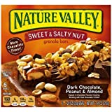 Nature Valley Sweet & Salty Nut Dark Chocolate, Peanut & Almond Granola Bars, 1.24 Oz, 6 Count (Pack of 3)