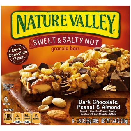 Nature Valley Sweet Salty Nut Dark Chocolate, Peanut Almond Granola Bars, 6 Bars