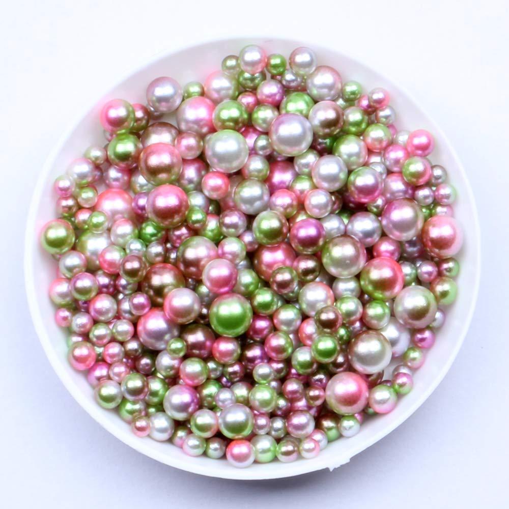 Nizi Jewelry RainBow Color No Hole Round Pearls 3-6mm Imitation Pearls Craft DIY Wedding Dresses Decorations Nail Art Olive Rainbow 6mm 5000pcs by Nizi Jewelry