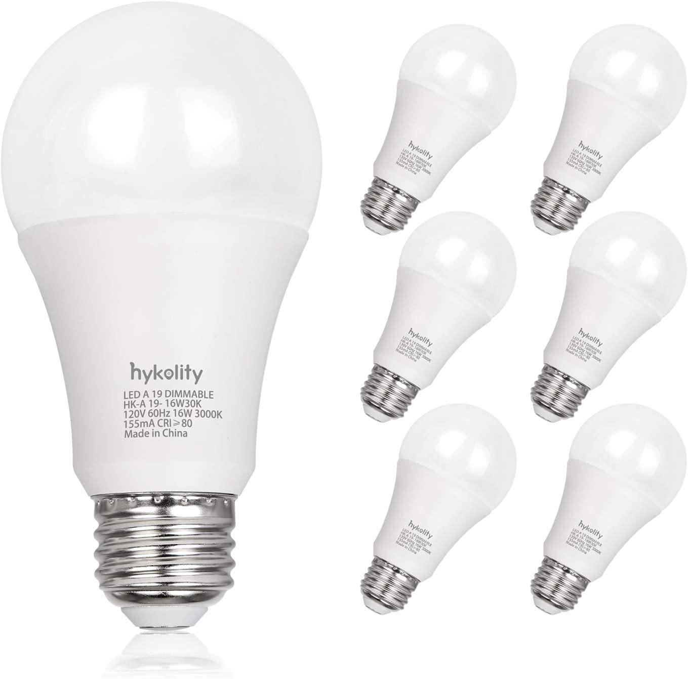 Hykolity Dimmable 100W Equivalent A19 LED Light Bulb, 1600 Lumens, 16W, 3000K Warm White, E26 Medium Base, UL Listed (6 Pack)