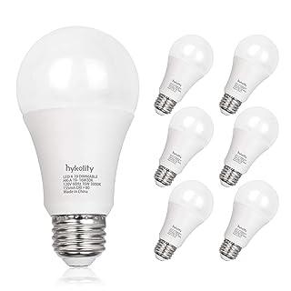 Hykolity 100W Equivalent A19 LED Light Bulb, 16W, 5000K Daylight, 1600LM, E26 Medium Base, Dimmable, UL Listed (6 Pack)