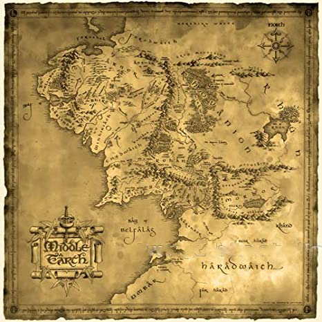 Wo-dreams Vintage Cotton Lord of the Ring Middle Earth Map Canvas Decorative Painting (19.7x19.7)