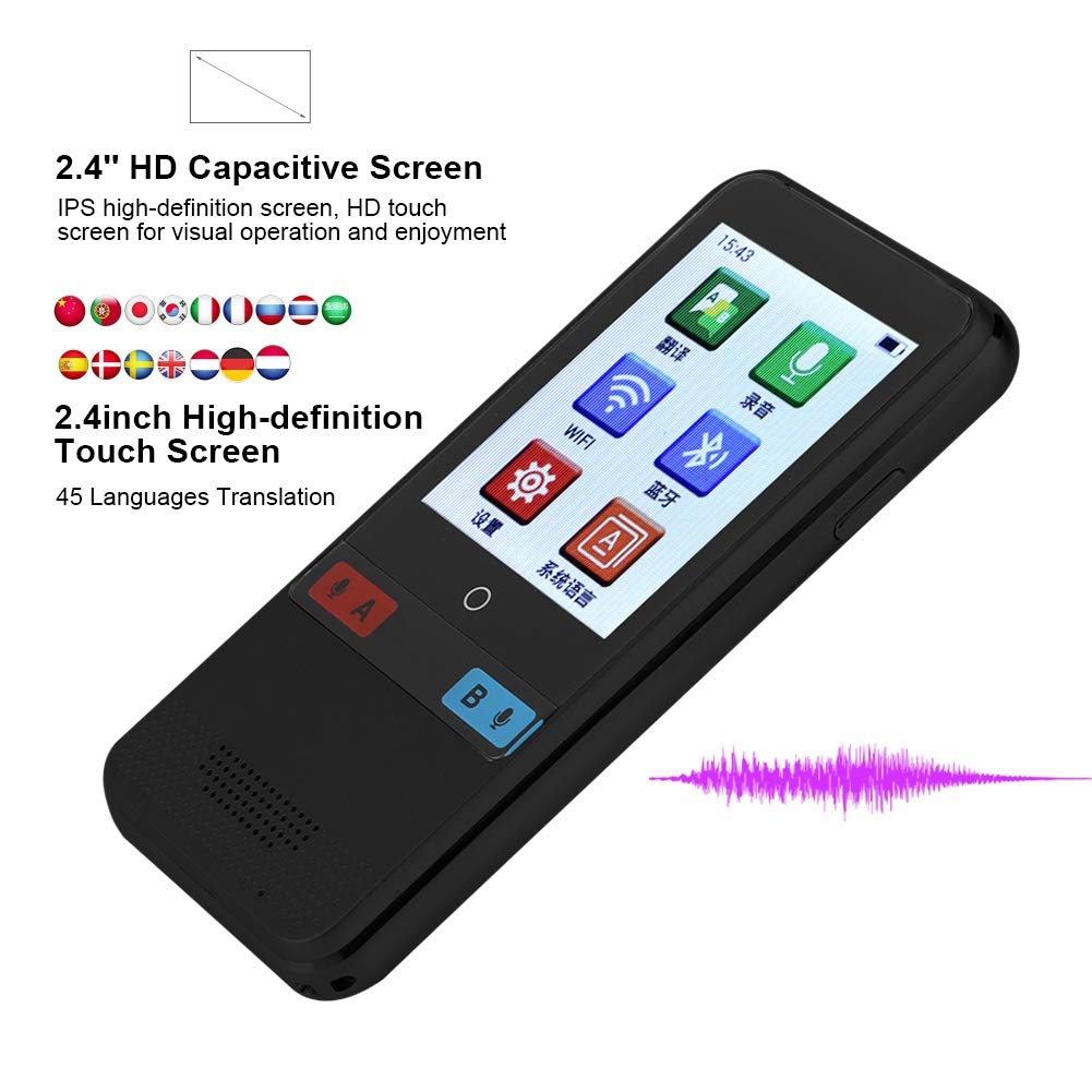 Portable 2.4 HD Touch Screen Real Time Multilingual Voice Translator No Noise Support 45 Language for Learning Travel Business Shopping Zerone Smart Language Translator Device Gold