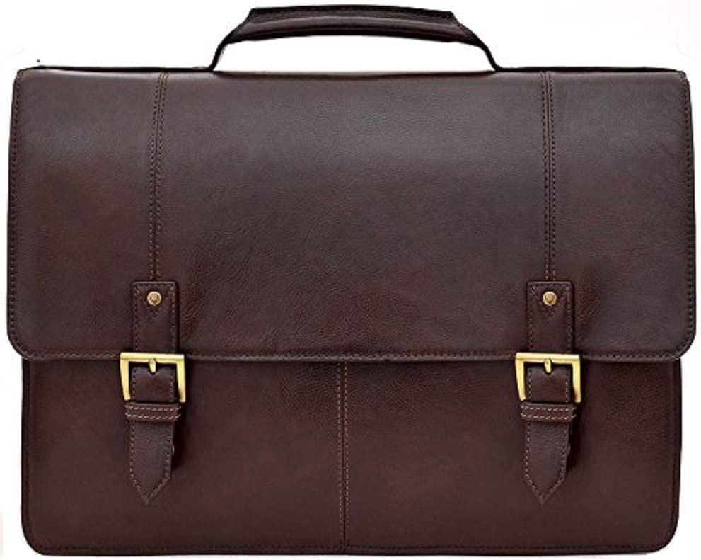 "HIDESIGN Charles Large Double Gusset Leather 17"" Laptop Compatible Briefcase Messenger Bag I Shoulder Bag for Men & Women - Size (L x W x H - 17.3 x 3.9 x 12.6 inches)"