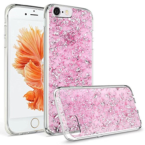 iPhone 6 Plus Case, Welity Luxury Chic Cute Art Ultra Slim Glitter Bling Sparkling Crystal Clear Snap On Soft Silicone Back Cover Case for Apple iPhone 6/6S Plus (Pink)