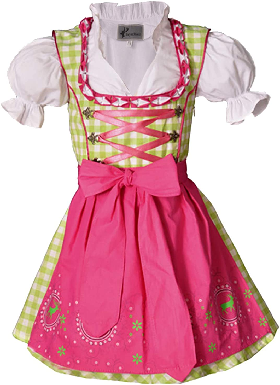 Trachtenset 3-TLG Sch/ürze und Bluse Gr/ö/ßen 92-152 Bayer Madl Kinderdirndl Carolin gr/ün//pink Dirndl inkl
