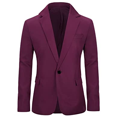 ffee4a651e3 YUNCLOS Men s Slim Fit Casual One Button Notched Lapel Blazer Jacket  (Burgundy