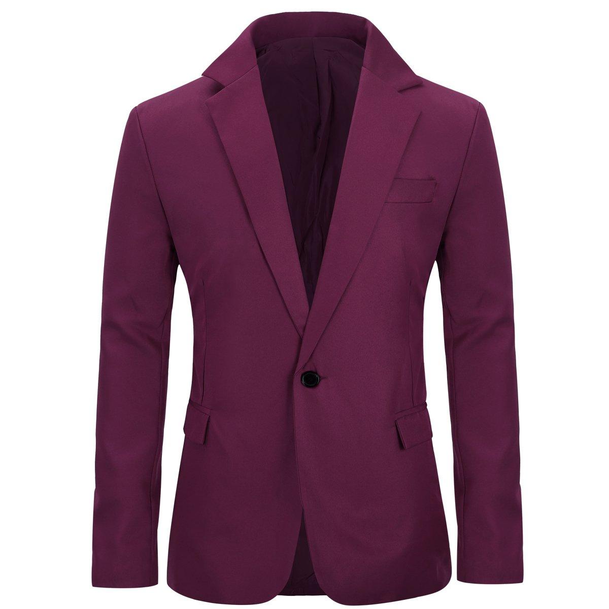 Men's Slim Fit Casual One Button Notched Lapel Blazer Jacket (Burgundy, XL)