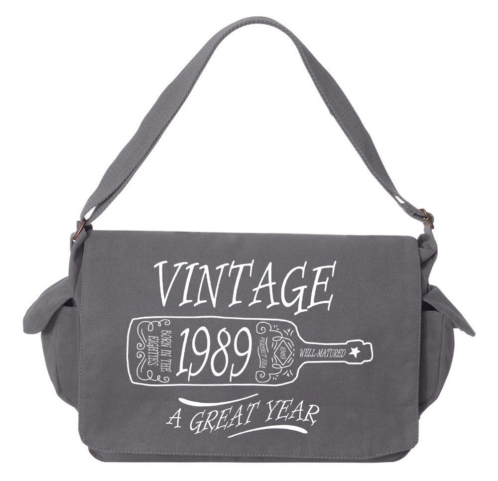 Tenacitee Aged Like a Fine Wine 1989 Grey Brushed Canvas Messenger Bag